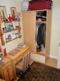Desk, shelves and closet