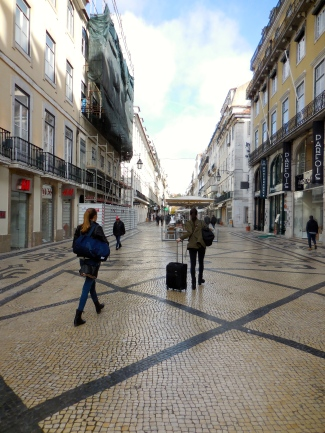 Leaving our street, Rua Augusta, in Lisbon - 3/1/15