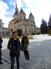 Janice and Madi outside of Royal Palace of La Granja de San Ildefonso - Segovia 3/13/15