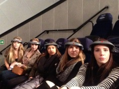 Jenna, Olivia, Sofia, Emily and I getting ready for the IMAX presentation (or a trip to space?) - 2/22/15
