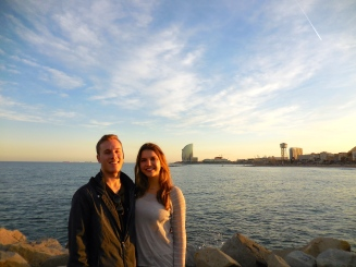 Michael and me at Barceloneta - 3/28/15