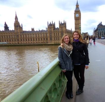 Ellie and me outside Parliament and Big Ben - 4/1/15