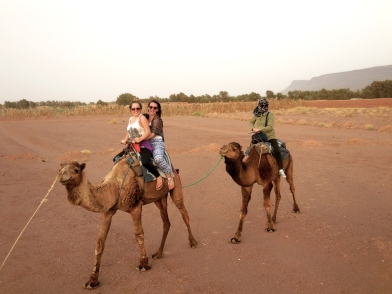 Jenna and Nicolette, and Janice on camels - 4/17/15